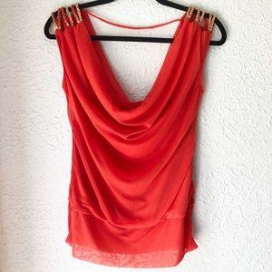 XOXO Tops - Juniors XOXO Orange Dressy Blouse Size L